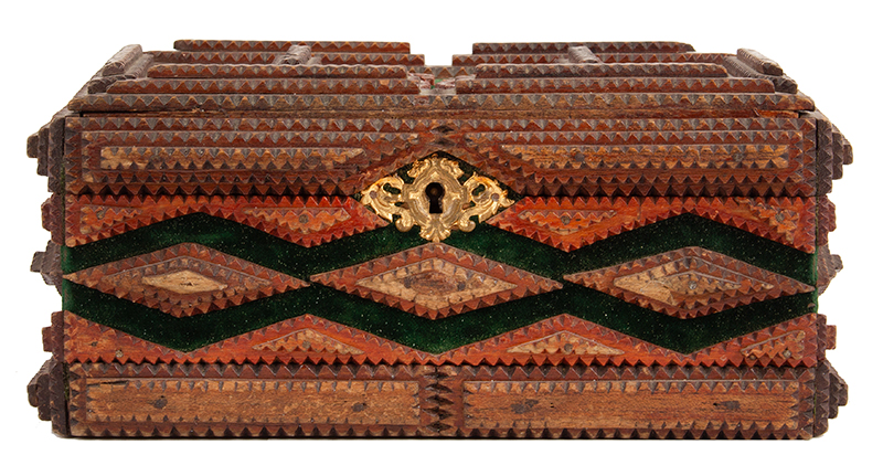 Tramp Art, Lidded Box, 1902, Cigar Box Mahogany, Stepped Pyramid Designs, entire view 3