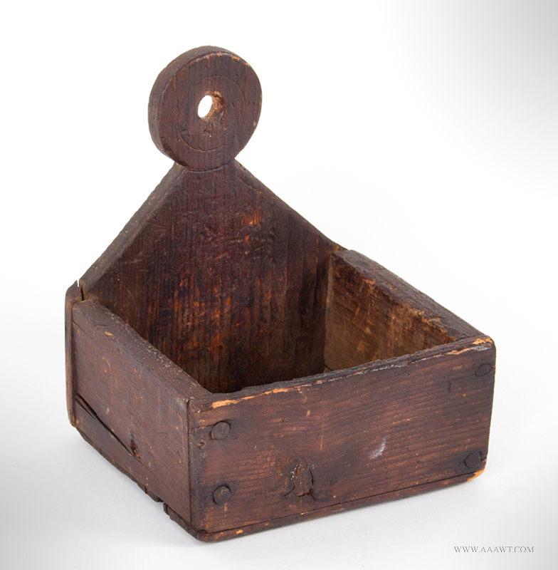 Small Wall Box, Pierced Lollipop Finial, Natural Finnish, Great Surface New England, First-half 19th Century, entire view