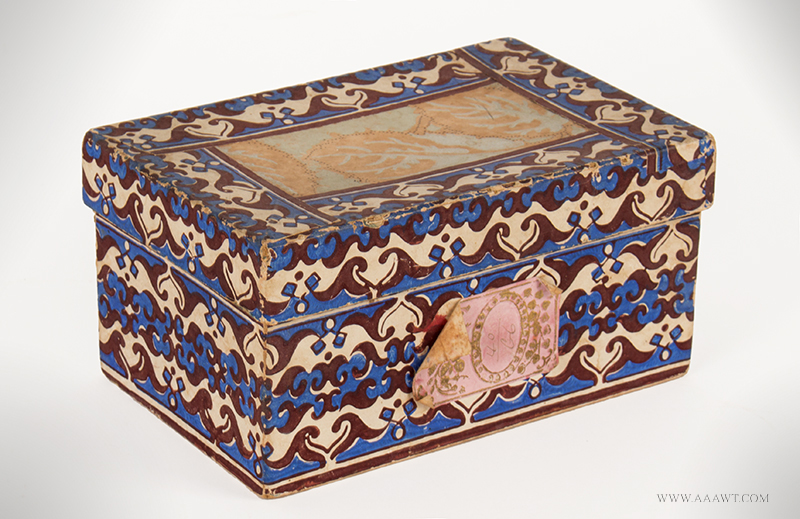 Rectangular Wallpaper Box, Bright Blue, Brown & White American, 19th Century, entire view
