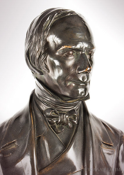 Henry Clay Bronze Figure, Full Length Statuette, Thomas Ball, Boston, Modeled 1858 Thomas Ball (1819 to 1911), head detail