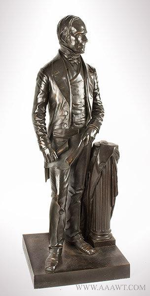 Henry Clay Bronze Figure, Full Length Statuette, Thomas Ball, Boston, Modeled 1858 Thomas Ball (1819 to 1911), angle view