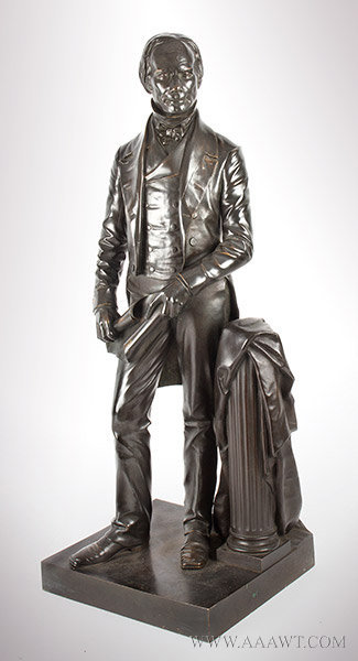 Henry Clay Bronze Figure, Full Length Statuette, Thomas Ball, Boston, Modeled 1858 Thomas Ball (1819 to 1911), entire view