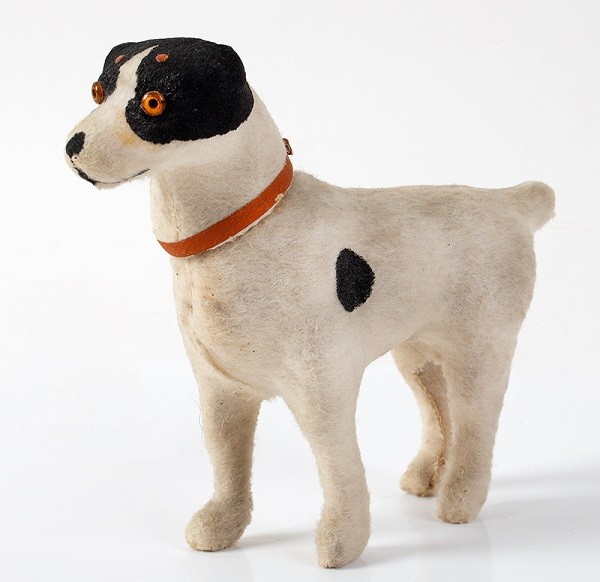 Brown-Spotted-White-Felt-Dog-Candy-Container,-Red-Collar