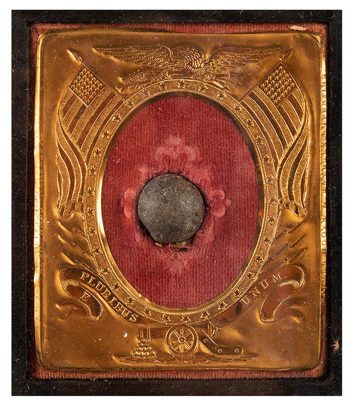 Civil War Prisoner of War Gilt Ladder Badge Recording 4 Prisons Survived by James Walstead Also, the Fort Sumpter Attack Bullet Removed from Walstead's Shoulder & Discharge/Pension Papers, detail view 2
