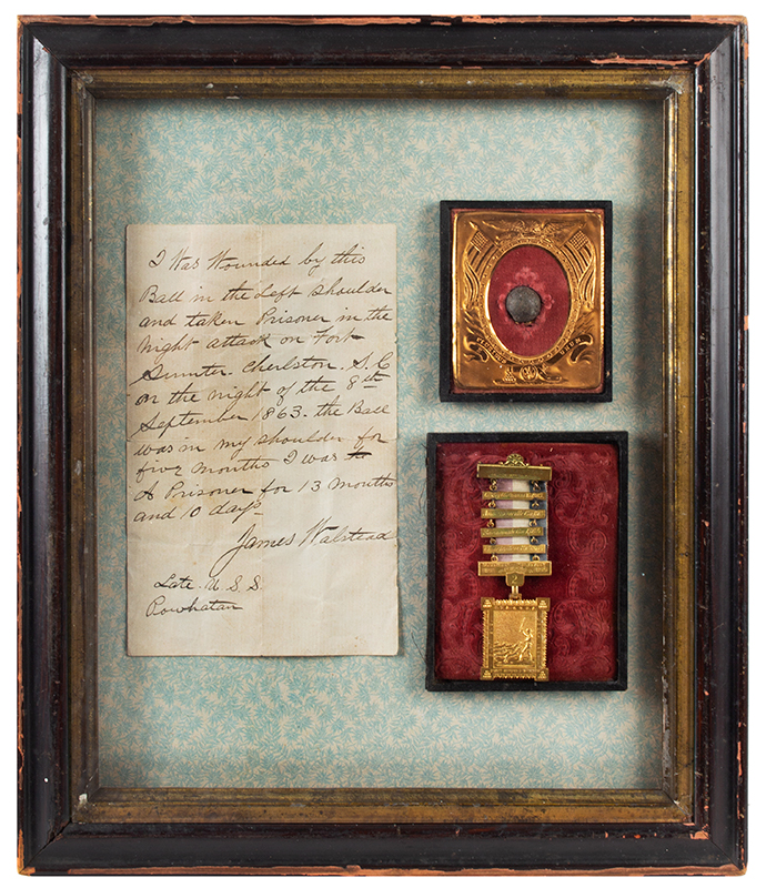 Civil War Prisoner of War Gilt Ladder Badge Recording 4 Prisons Survived by James Walstead Also, the Fort Sumpter Attack Bullet Removed from Walstead's Shoulder & Discharge/Pension Papers, entire view