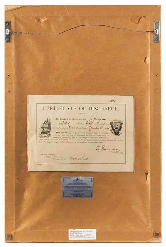 Civil War Prisoner of War Gilt Ladder Badge Recording 4 Prisons Survived by James Walstead Also, the Fort Sumpter Attack Bullet Removed from Walstead's Shoulder & Discharge/Pension Papers, pension back