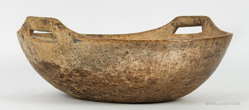 Double Handle Ash Burl Bowl, Original Surface, Dry Patina, Iroquois, Circa 1780-1800, entire view