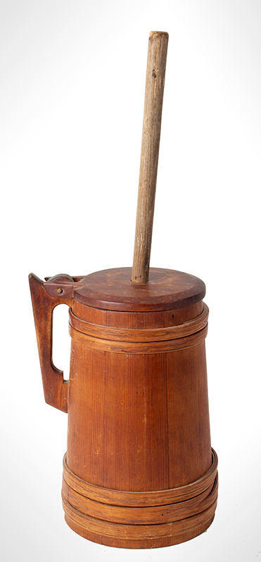 Antique Staved Butter Churn, Cooper Made, Built Like a Tankard New England, circa 1780-1810 Pine staves, maple lid, and ash bands, entire view 1