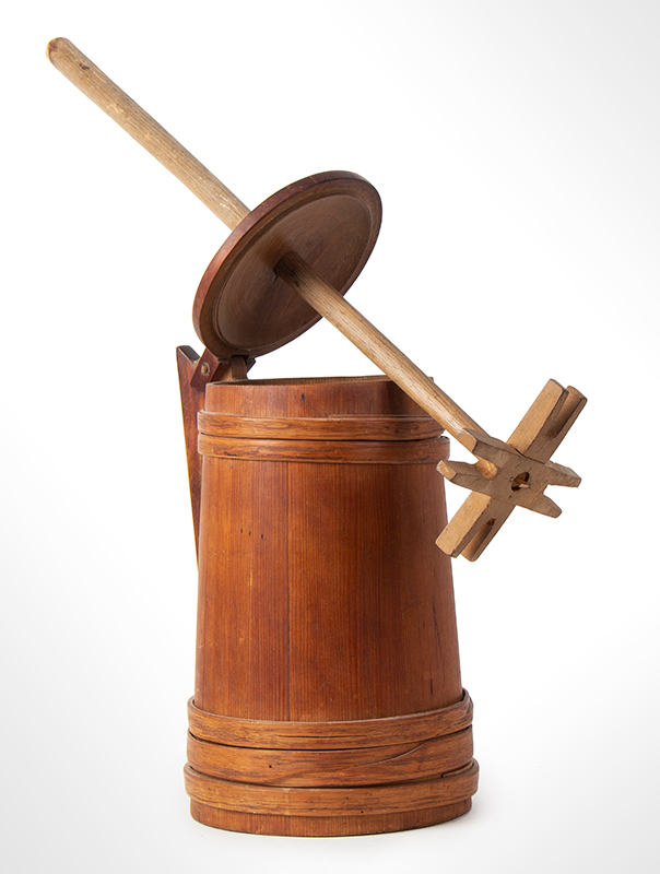 Antique Staved Butter Churn, Cooper Made, Built Like a Tankard New England, circa 1780-1810 Pine staves, maple lid, and ash bands, entire view 2
