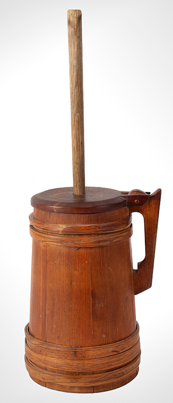 Antique Staved Butter Churn, Cooper Made, Built Like a Tankard New England, circa 1780-1810 Pine staves, maple lid, and ash bands, entire view 3