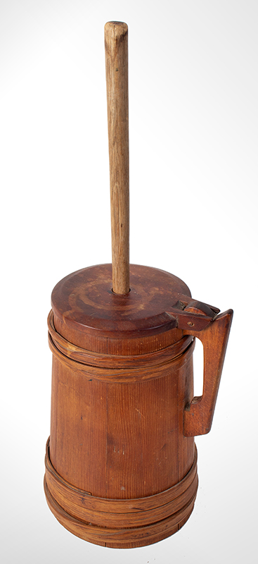 Antique Staved Butter Churn, Cooper Made, Built Like a Tankard New England, circa 1780-1810 Pine staves, maple lid, and ash bands, entire view 4