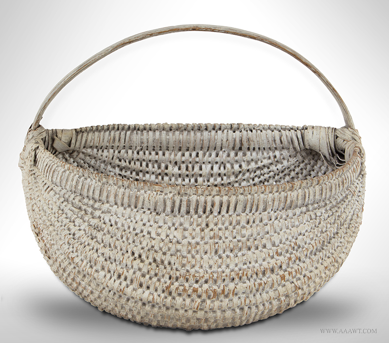Half Buttocks Basket, Original White Paint, Bulbous Form, Tightly Woven Ash Splint New England, 19th Century, entire view