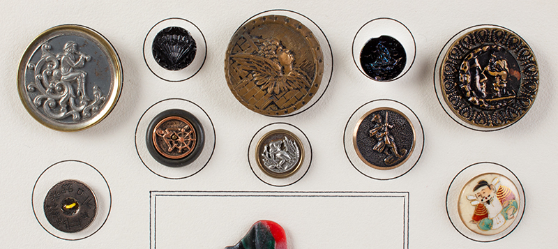 Vintage Button Collection, 27 Pieces on Display Board Includes story buttons, American Indian, Japanese and Lindbergh, detail view 1
