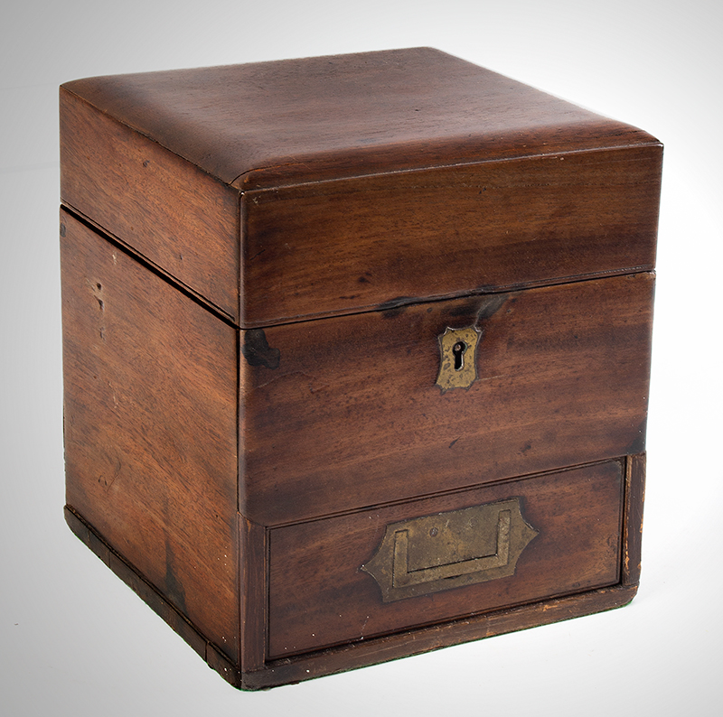 Antique, Campaign Style Cady or Instrument Box Likely English, circa 1850 Mahogany, entire view 1