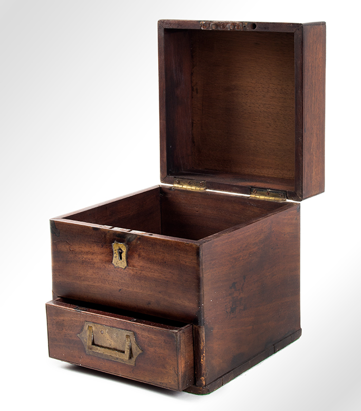 Antique, Campaign Style Cady or Instrument Box Likely English, circa 1850 Mahogany, entire view 2