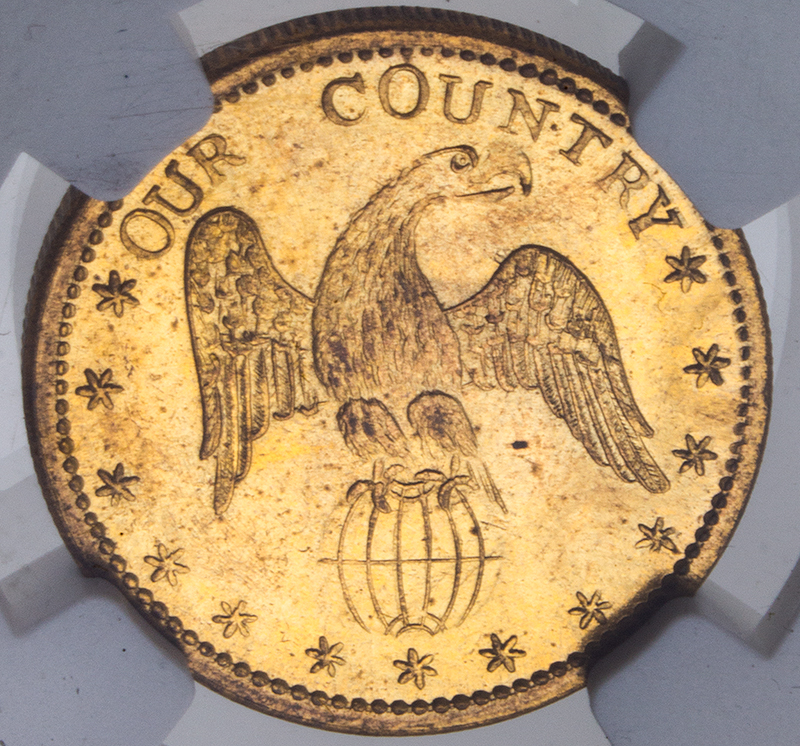 John C. Freemont Campaign Token, Certified 1856, coin detail back