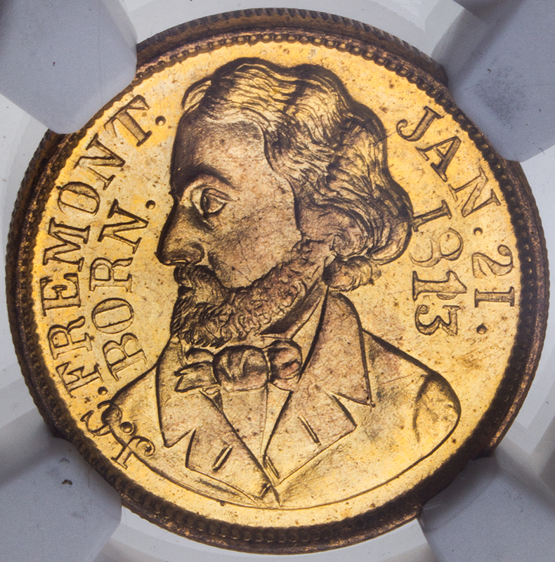 John C. Freemont Campaign Token, Certified 1856, coin detail front
