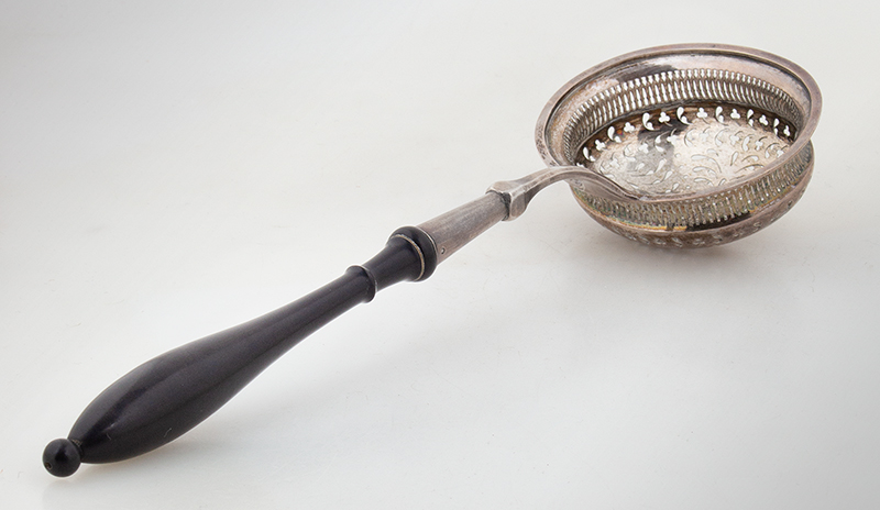 Antique Silver Straining Spoon, Ladle with Pierced Bowl, Turned Wood Handle, entire view