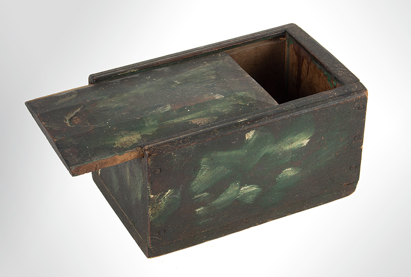 Antique Paint Decorated Slide Lid Candle Box New England, Early 19th Century Maple, entire view 2