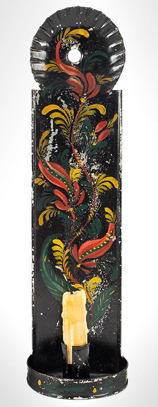 Antique Paint Decorated Tin Candle Sconce, Tole Wall Sconce American, Early 19th Century, entire view