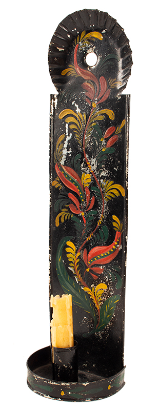 Antique Paint Decorated Tin Candle Sconce, Tole Wall Sconce American, Early 19th Century, angle view