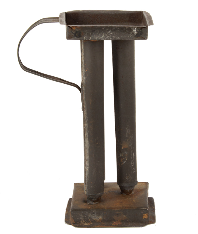 Antique Candle Mold, Three Tube Tin Taper, Ribbed Loop Handle, Miniature Nineteenth Century Square gallery base and top joining three tube molds…, entire view 1