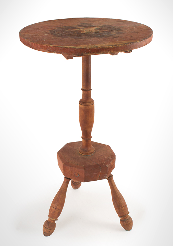 Early American Candlestand in Red Surface, Tiptop Table, Platform Base New England, angle view