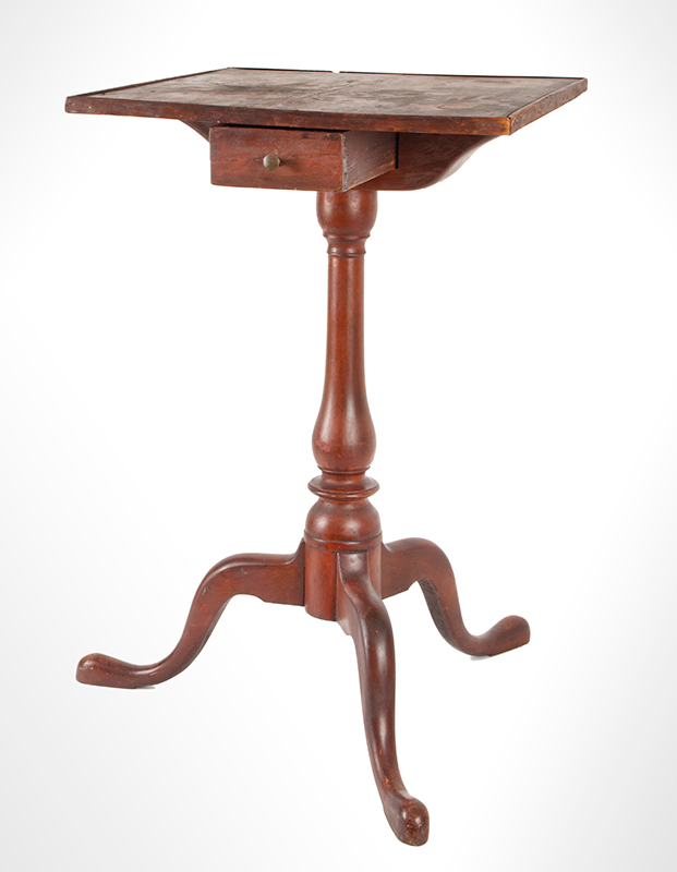 Queen Anne Candlestand with Drawer, New England view-3