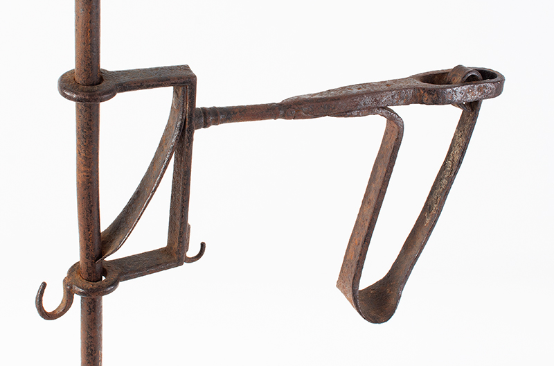 18th Century Wrought Iron Candlestand, Box Spring  Probably French, arm view