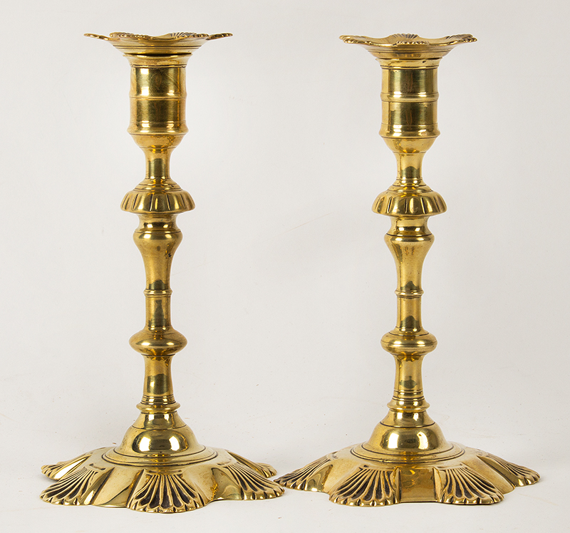 """Antique Candlesticks, Queen Anne, Brass, Petal Base, Matching Bobeches  England, Circa 1750-1770 A lovely near pair in fine original condition standing at 8.25"""", entire view 1"""