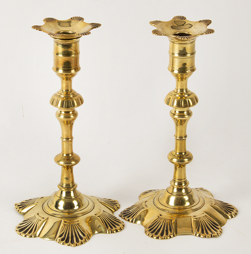"""Antique Candlesticks, Queen Anne, Brass, Petal Base, Matching Bobeches  England, Circa 1750-1770 A lovely near pair in fine original condition standing at 8.25"""", entire view 2"""
