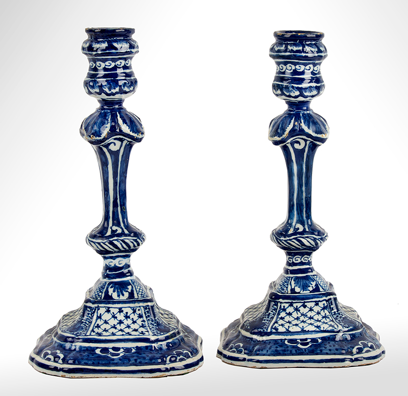 """Dutch Delft Silver Form Candlesticks, Lampetkan Factory, Circa 1775 A Pair of Blue & White Sticks Displaying the """"LPK"""" Makers Marks, entire view"""