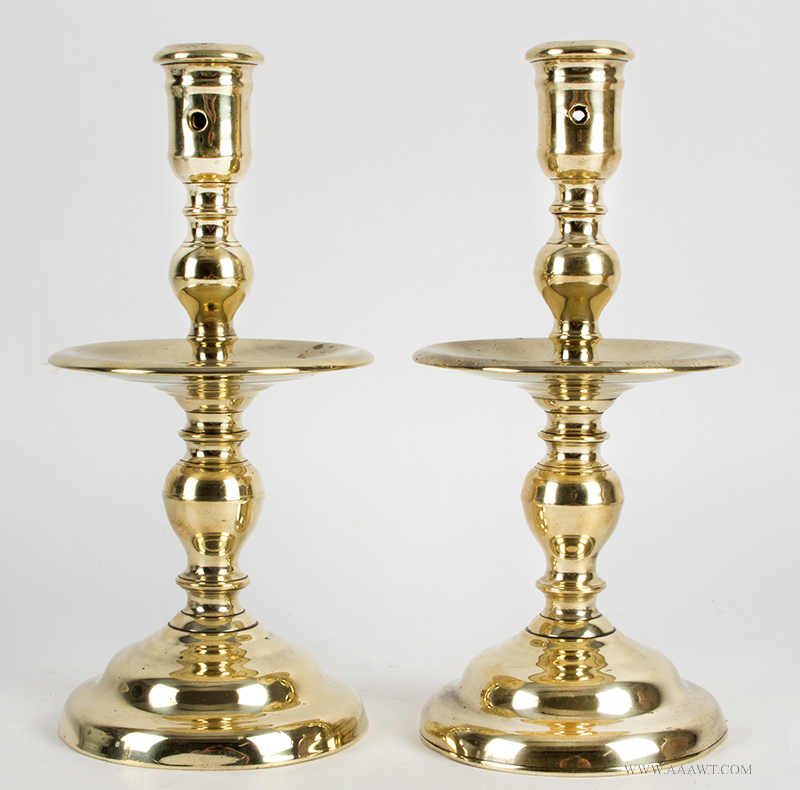 Matching Pair of Tall 17th Century Dutch Brass Heemskirk Candlesticks, Robust and Sculptural Socket on solid cast stem, shallow mid-drip pan raised on domed spreading circular base, heavy, entire view