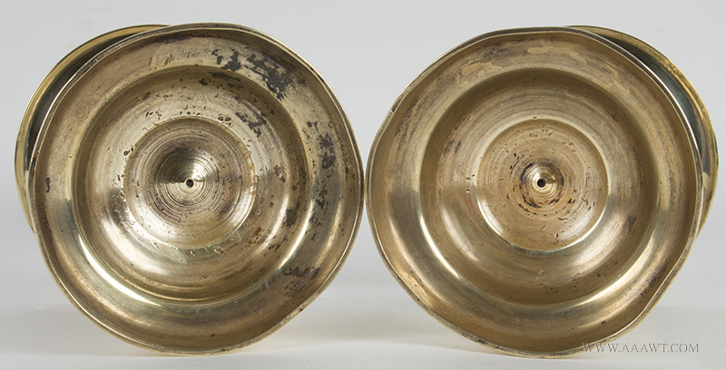 Matching Pair of Tall 17th Century Dutch Brass Heemskirk Candlesticks, Robust and Sculptural Socket on solid cast stem, shallow mid-drip pan raised on domed spreading circular base, heavy, base detail