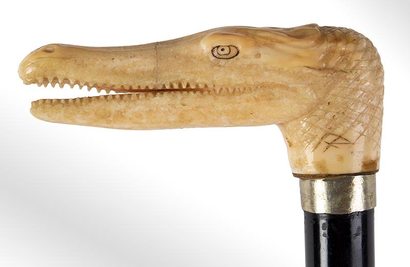 Antique, Carved Alligator Walking Stick, Victorian Cane Unknown Maker, signed, head detail 1