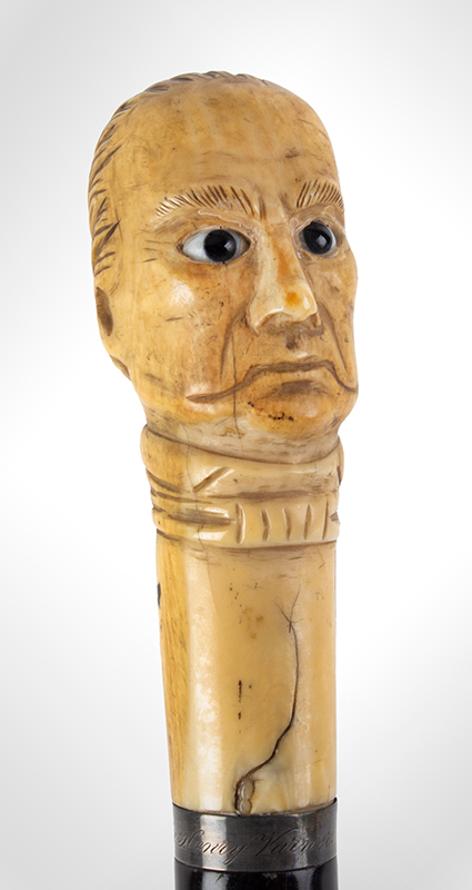 Daniel Webster Carved Ivory Bust Topped Cane Daniel Webster By Henry Varner Among the most impressive political canes we have encountered, bust detail 1