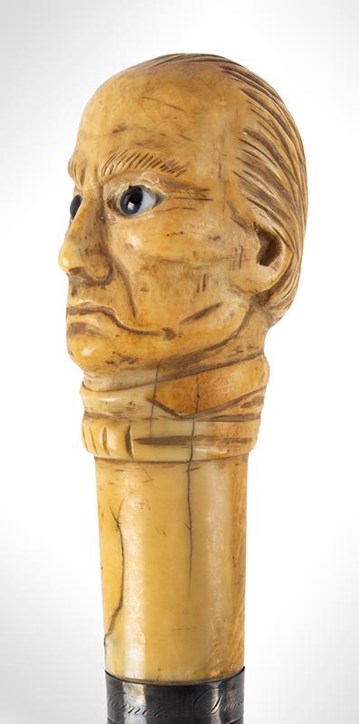 Daniel Webster Carved Ivory Bust Topped Cane Daniel Webster By Henry Varner Among the most impressive political canes we have encountered, bust detail 2