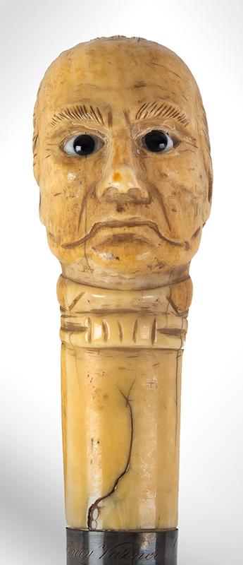Daniel Webster Carved Ivory Bust Topped Cane Daniel Webster By Henry Varner Among the most impressive political canes we have encountered, bust detail 3