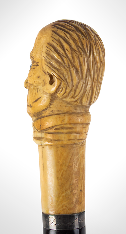 Daniel Webster Carved Ivory Bust Topped Cane Daniel Webster By Henry Varner Among the most impressive political canes we have encountered, bust detail 4
