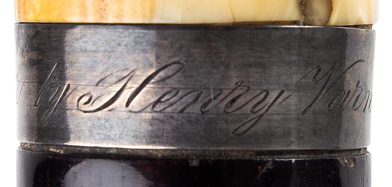 Daniel Webster Carved Ivory Bust Topped Cane Daniel Webster By Henry Varner Among the most impressive political canes we have encountered, engraving detail 1
