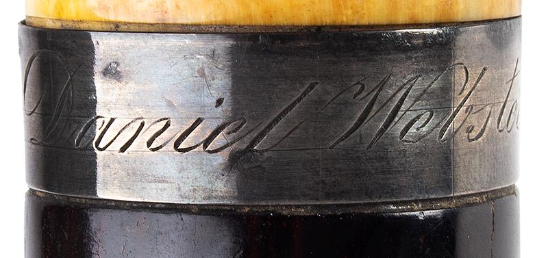 Daniel Webster Carved Ivory Bust Topped Cane Daniel Webster By Henry Varner Among the most impressive political canes we have encountered, engraving detail 3