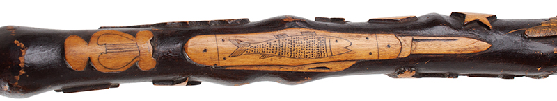 Folk Art, Carved GAR Cane, by Charles W. Teale, Circa 1870 Likely by Charles W. Teale (1817-1895) Bath, New York Maple (Length: 35.5''), detail view 4