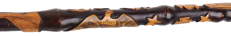 Folk Art, Carved GAR Cane, by Charles W. Teale, Circa 1870 Likely by Charles W. Teale (1817-1895) Bath, New York Maple (Length: 35.5''), detail view 5