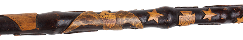 Folk Art, Carved GAR Cane, by Charles W. Teale, Circa 1870 Likely by Charles W. Teale (1817-1895) Bath, New York Maple (Length: 35.5''), detail view 6