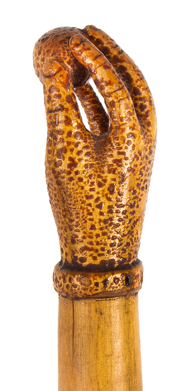 Antique Cane, Carved Folk Art Walking Stick, Original Surface Anonymous, likely circa 1880-1900, hand detail 2