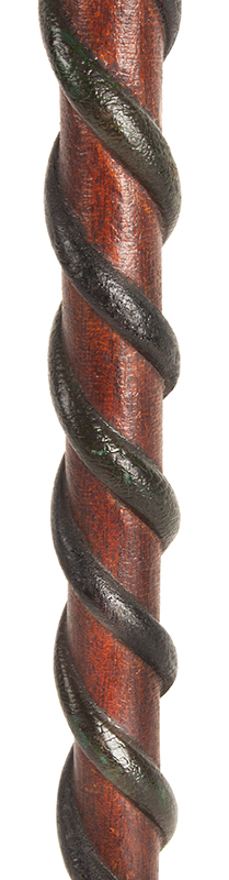 Antique Cane, Carved Folk Art Walking Stick, Original Surface Anonymous, likely circa 1880-1900, snake detail