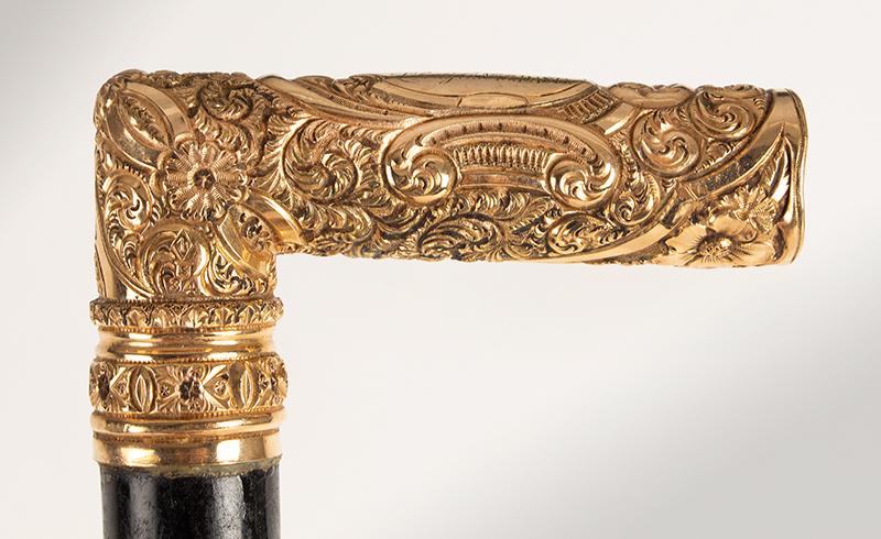 "Antique Gold Handled Presentation Walking Stick, Cane, Gilt ""Erinnerung / Liberty Company / No.12 / D.A.S.B., handle detail 1"