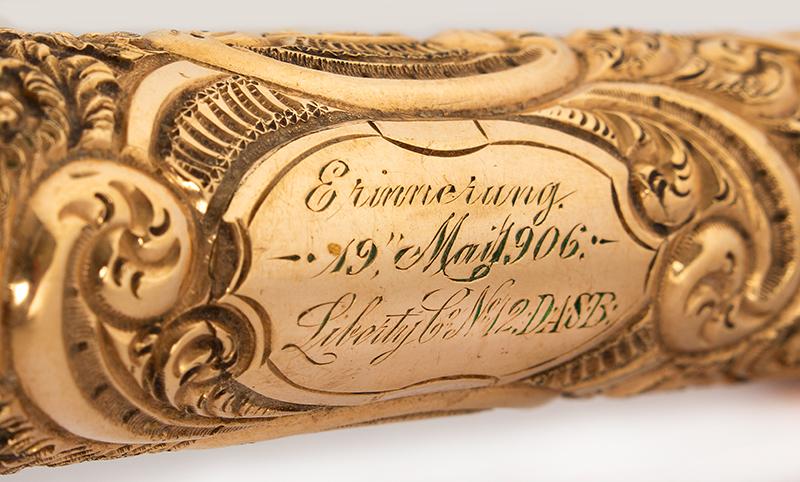 "Antique Gold Handled Presentation Walking Stick, Cane, Gilt ""Erinnerung / Liberty Company / No.12 / D.A.S.B., engraving detail"
