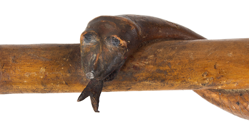Antique Folk Art Walking Stick, Carved, Polychrome  Anonymous, 19th Century…wonderful, detail view 3