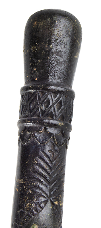 Antique, Carved & Painted Walking Stick, Folk Art Cane Anonymous, late 19th Century, detail view 3